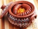 Рецепта Печен зрял боб с наденица в глинен съд